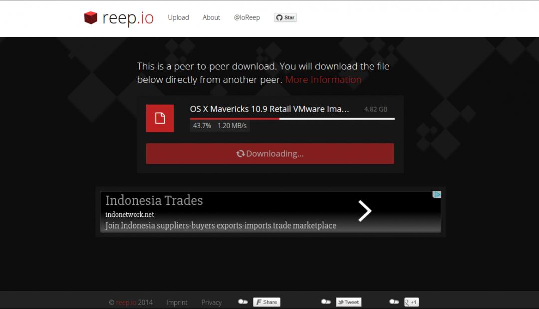 Reep.io Peer to Peer File Transfer Web App